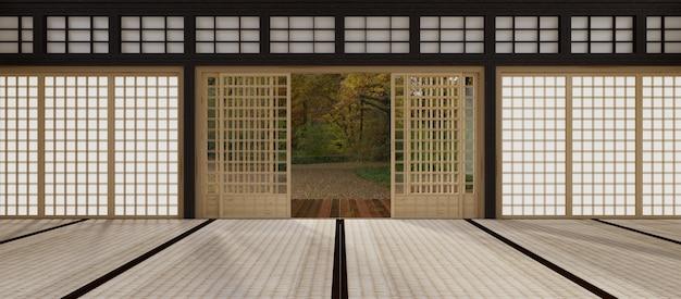 Sala vazia com grande janela em estilo loft. renderização 3d. Foto Premium