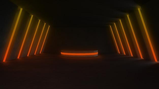 Sala vazia de concreto com luzes de néon Foto gratuita