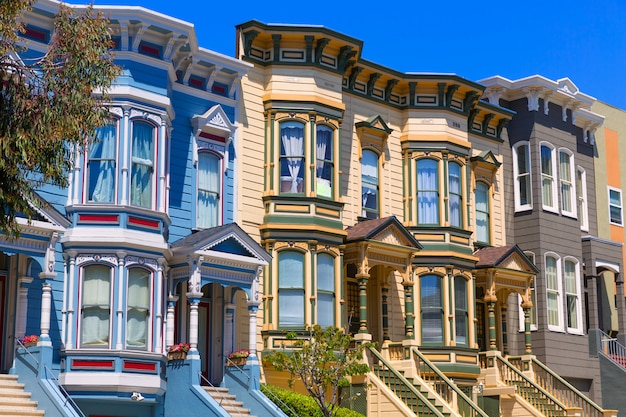 San francisco casas vitorianas em pacific heights califórnia Foto Premium