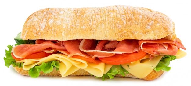Sanduíche de ciabatta com alface, presunto de tomate Foto Premium