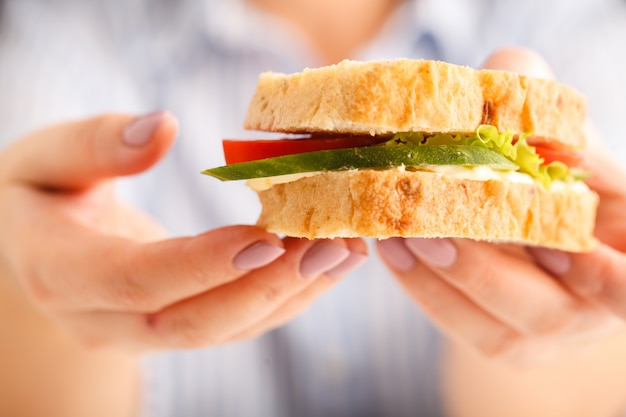 Sanduíche fresco na mão Foto Premium