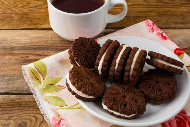 Sanduíches de chocolate caseiros, vista superior Foto Premium