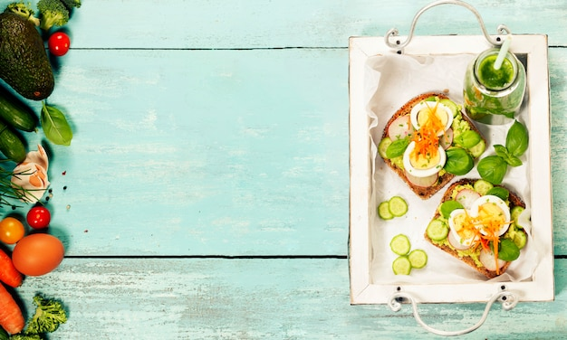Sanduíches saudáveis Foto Premium