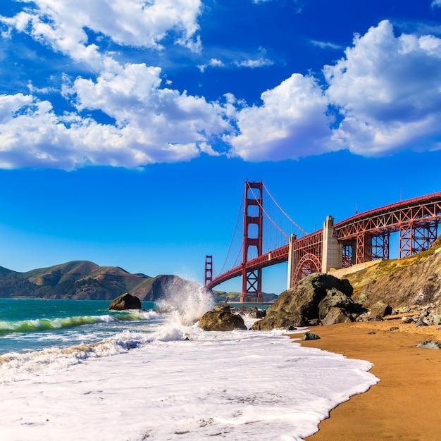 São francisco, ponte dourada portão, marshall, praia, califórnia Foto Premium