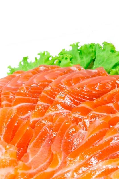 Sashimi de salmão no mercado fechar Foto Premium