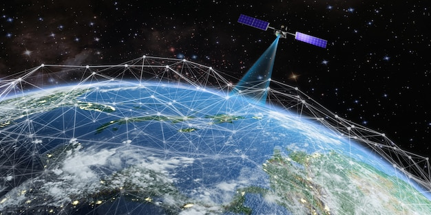 Satélite transmite um sinal para a terra Foto Premium