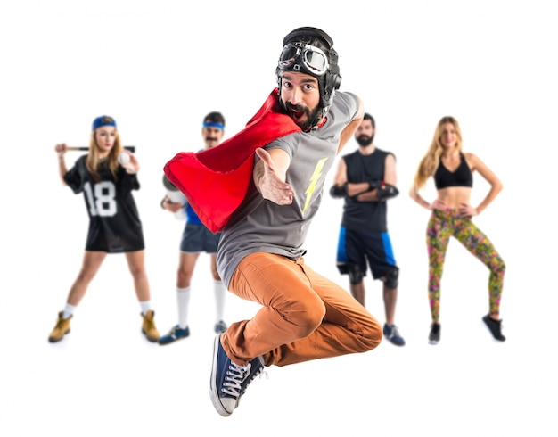 Saudação do super-herói Foto Premium