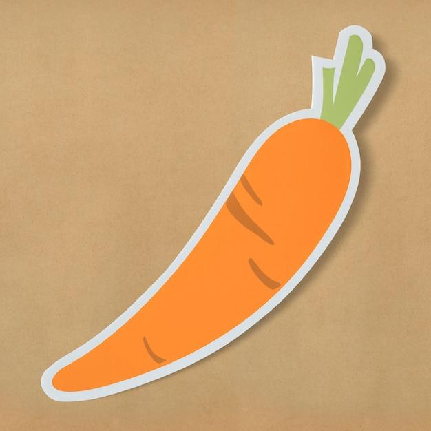 Saudável, nutritivo, cenoura, cortada, ícone Foto gratuita