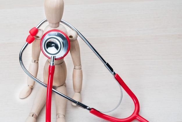 Saúde, e, medicina, estetoscópio, e, madeira, homem, saúde, cheque cima, e, seguro Foto Premium