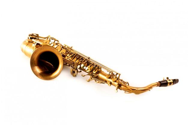 Sax saxofone tenor sax isolado no branco Foto Premium