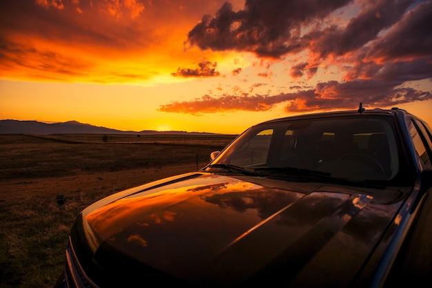 Scenic sunset stop Foto gratuita