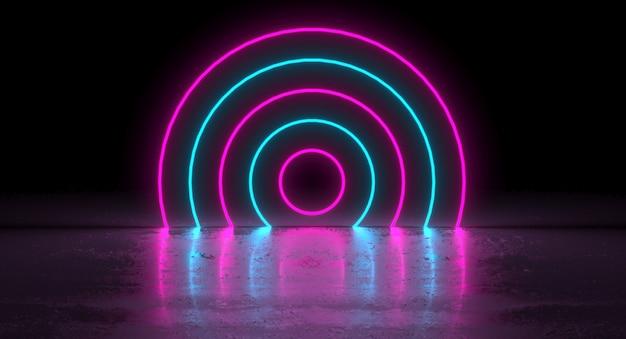 Sci-fi azul roxo rosa neon círculo brilhante forma redonda Foto Premium