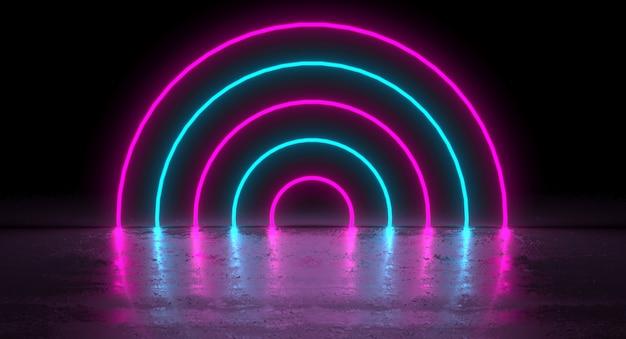 Sci-fi futurista azul roxo néon círculo em forma redonda tubos em reflexão Foto Premium