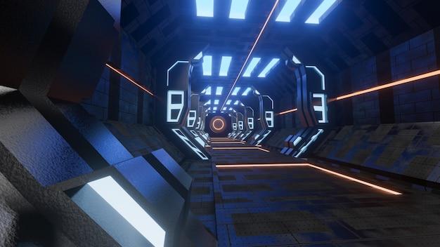 Sci-fi grunge danificado fundo metálico corredor iluminado com luzes de néon 3d render - ilustração de stock Foto Premium