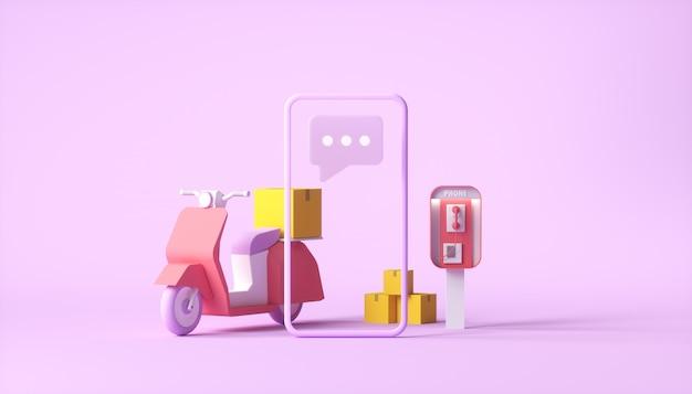 Scooter de entrega com smartphone em fundo rosa Foto Premium
