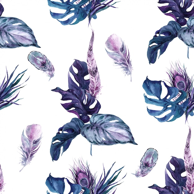 Seamless pattern exotic penas de aves Foto Premium