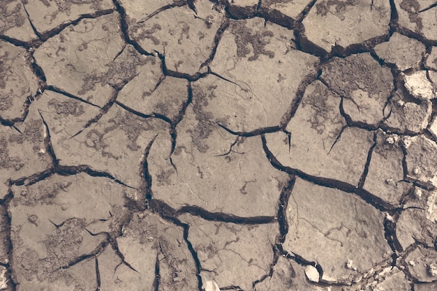 Seca, o chão racha, sem água quente, falta de umidade. solo seco e rachado, superfície rachada, solo seco em áreas áridas. Foto Premium