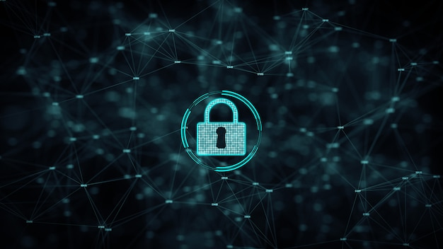 Segurança cibernética e proteção de rede de informações com o ícone de bloqueio. Foto Premium