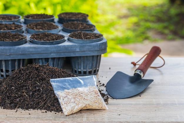 Sementes de melão na bandeja de germinação com solo fértil escuro. Foto Premium