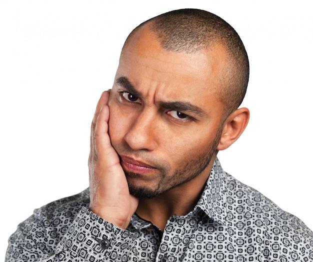 Sentimento de expressão facial de emoção negativa Foto Premium