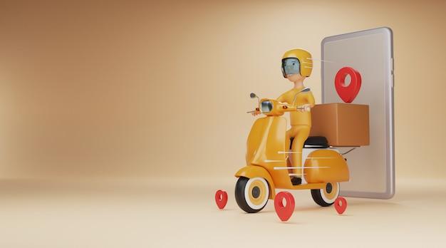 Serviço de entrega on-line por scooter. renderização em 3d. Foto Premium