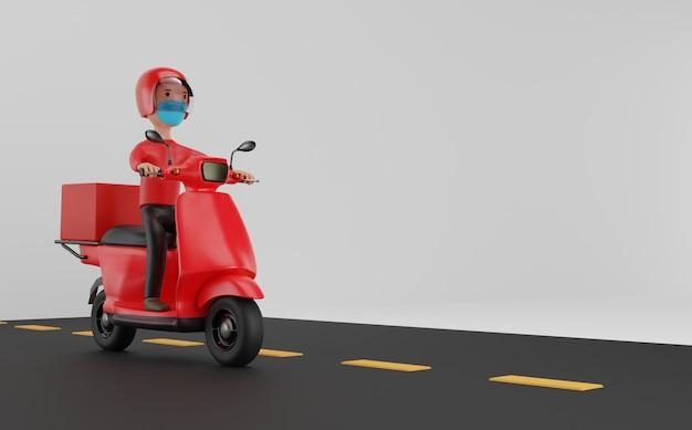 Serviço de entrega online por scooter com conceito de máscaras. renderização 3d. Foto Premium