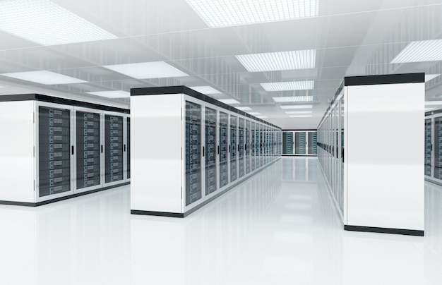 Servidores brancos centralizam a sala com computadores e sistemas de armazenamento renderização em 3d Foto Premium