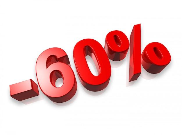 Sessenta por cento de número 3d isolado no branco - 60% Foto Premium
