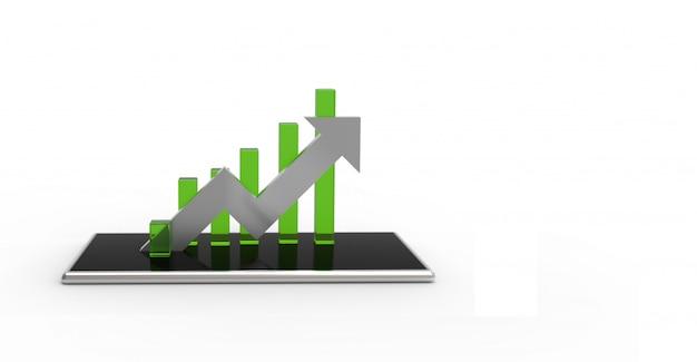 Seta de prata e gráfico verde no celular Foto Premium