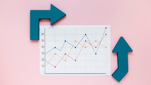 Setas para gráfico de economia Foto gratuita