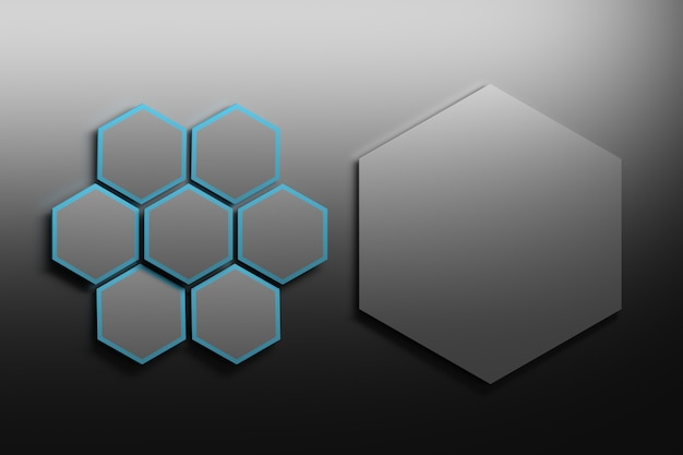 Sete pequenos hexágonos pretos com um grande à direita Foto Premium