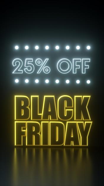 Sexta-feira negra, 25% de desconto na gravata amarela e preta longa faixa com luzes de neon. molde da propaganda da ilustração da rendição 3d. Foto Premium