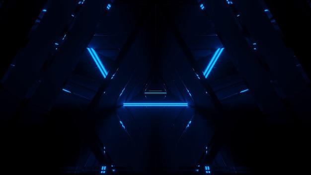 Show de laser de linhas brilhantes de luzes de néon com um fundo preto Foto gratuita