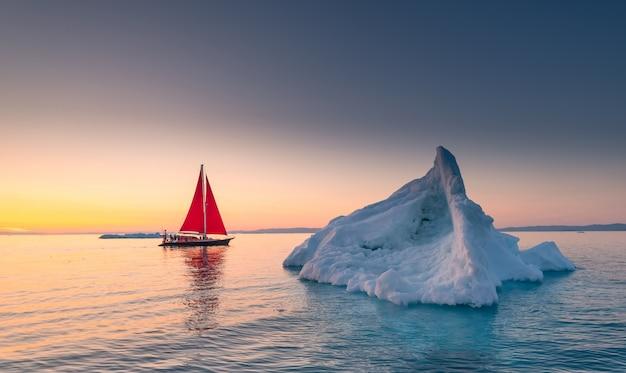 Sial vermelho e icebergs na groenlândia Foto Premium