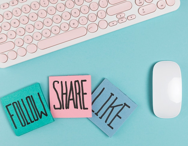 Siga compartilhar e como mock up do mouse Foto Premium