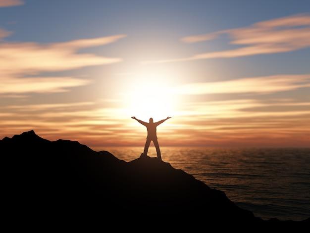 Silhueta 3d de um homem com os braços levantados contra uma paisagem do oceano do por do sol Foto gratuita