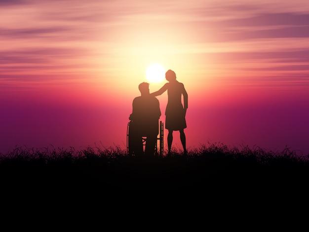 Silhueta 3d de um homem em uma cadeira de rodas com uma mulher contra uma paisagem do sol Foto gratuita
