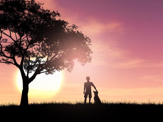 Silhueta 3d de um menino e seu cão contra um céu do por do sol Foto gratuita