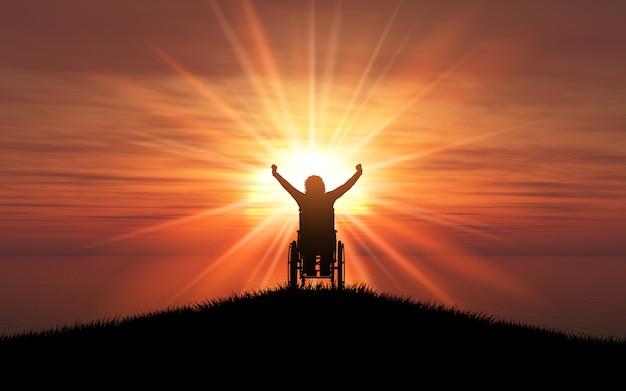 Silhueta 3d de uma fêmea em uma cadeira de rodas com os braços levantados contra um oceano do sol Foto gratuita