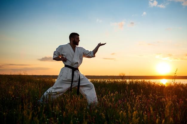 Silhueta de karatê de treinamento esportivo homem em campo ao nascer do sol. Foto gratuita