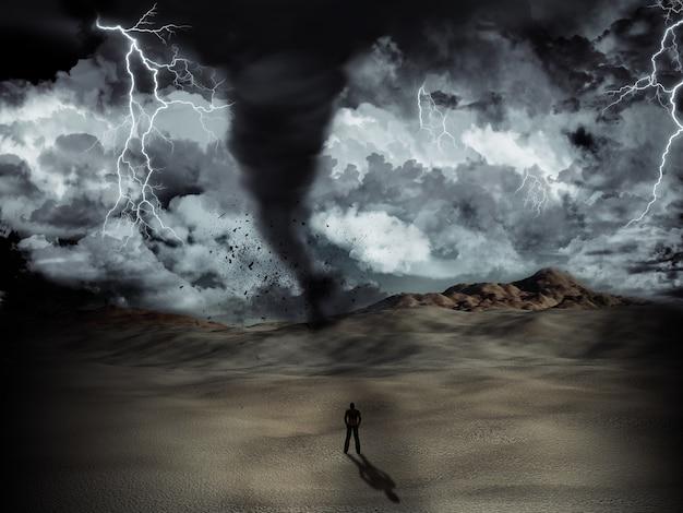 Silhueta de um homem levantou no deserto no meio de uma tempestade com furacão e relâmpagos Foto gratuita