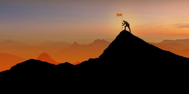 Silhueta do homem de pé no topo da montanha sobre o crepúsculo do sol com o conceito de bandeira, vencedor, sucesso e liderança Foto Premium