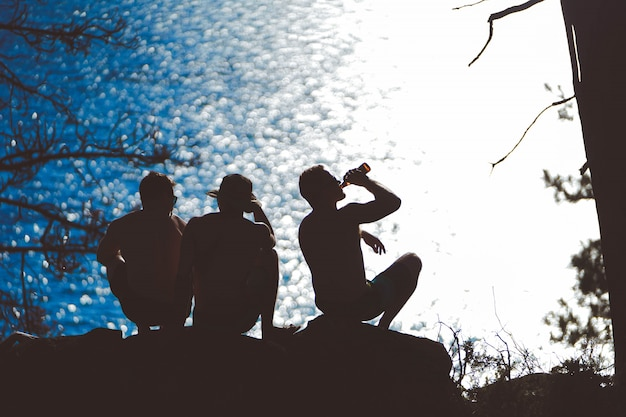 Silhueta horizontal de três amigos saindo perto do mar e bebendo cerveja à noite Foto gratuita