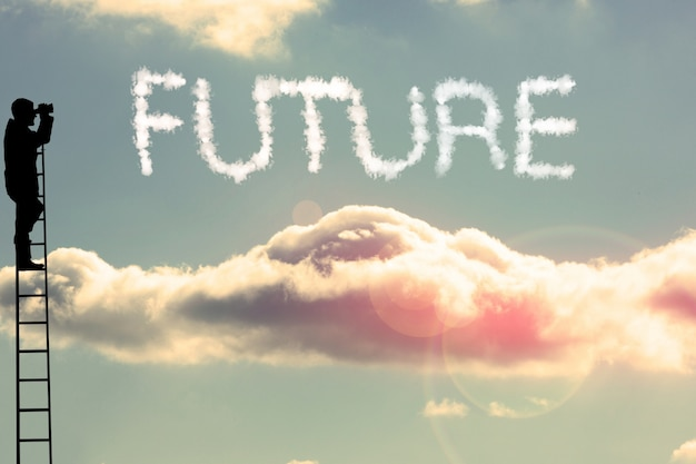 Silhueta olhando para o futuro Foto gratuita