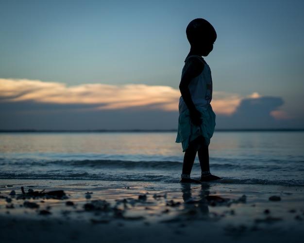 Silueta, de, menininha praia Foto Premium