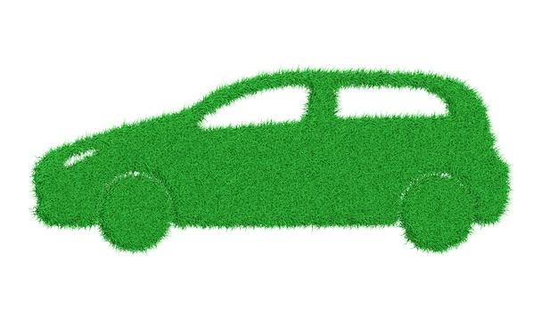 Silueta, de, um, car, feito, de, grama verde, ilustração 3d Foto Premium