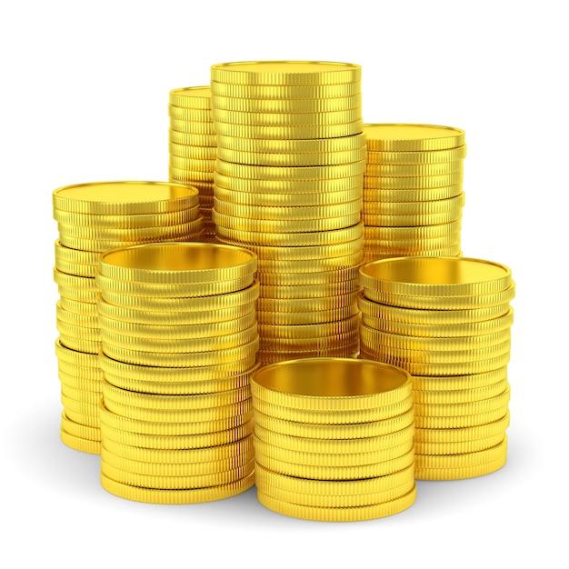 Símbolo da riqueza: pilha de moedas de ouro isolada Foto Premium
