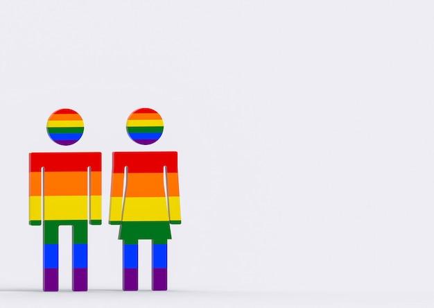 Símbolo do sexo masculino e fêmea da cor do arco-íris de lgbt no fundo do cinza do espaço da cópia. Foto Premium
