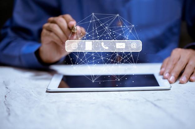 Símbolo telefone, correio, endereço e telefone celular. a página do site entre em contato conosco ou envie um e-mail para marketing e conceito de comunicação Foto Premium