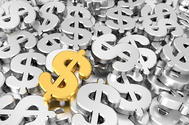 Sinal de dólar dourado no meio dos sinais de dólar de prata. renderização em 3d. Foto Premium